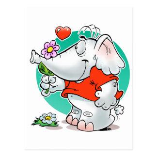 elefante dulce de los amoríos con la flor postal