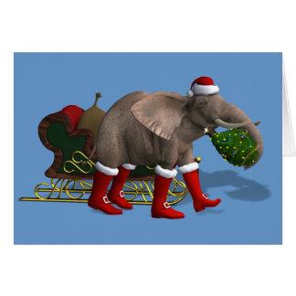 Elefante dulce de Papá Noel Tarjeta