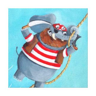 Elefante - el mejor animal del pirata lienzo envuelto para galerias