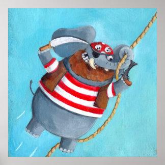 Elefante - el mejor animal del pirata póster