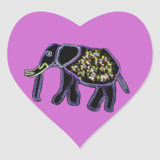 Elefante eléctrico pegatina en forma de corazón