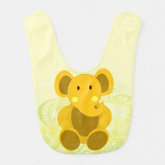 Elefante en amarillo - babero del bebé del bebé