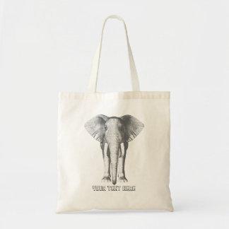 Elefante en blanco y negro bolsa tela barata