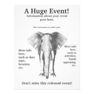 """¡Elefante en blanco y negro - un acontecimiento en Folleto 8.5"""" X 11"""""""