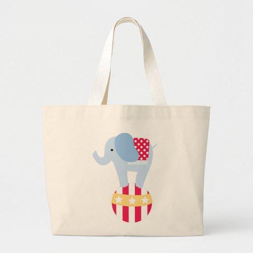 Elefante en bola del circo bolsa tela grande