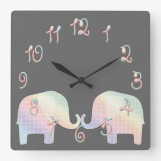elefante en colores pastel reloj cuadrado