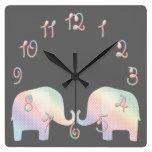 elefante en colores pastel reloj de pared