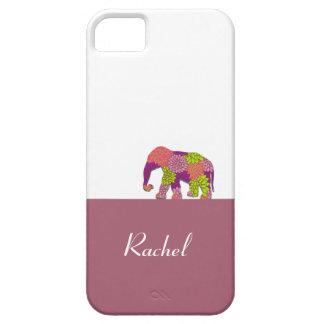 Elefante en el camino (flores coloridas) funda para iPhone 5 barely there