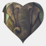 Elefante en el cuarto pegatina de corazon personalizadas