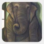 Elefante en el cuarto calcomanías cuadradass personalizadas