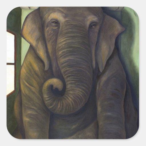 Elefante en el cuarto pegatina cuadrada