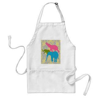 Elefante en el damasco floral - rosado, el azul y  delantal