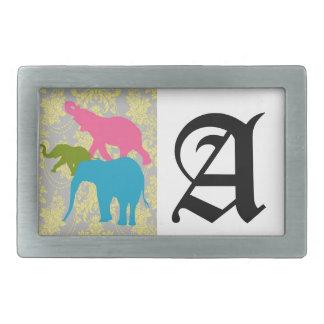 Elefante en el damasco floral - rosado, el azul y  hebillas de cinturon rectangulares
