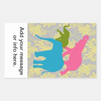 Elefante en el damasco floral - rosado, el azul y pegatina rectangular