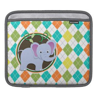 Elefante en el modelo colorido de Argyle Mangas De iPad