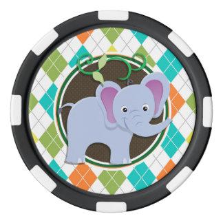 Elefante en el modelo colorido de Argyle Juego De Fichas De Póquer
