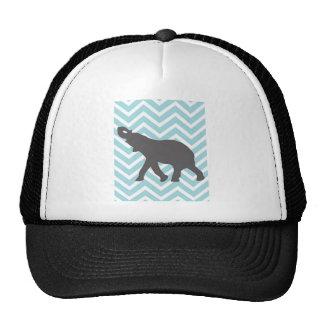 Elefante en el zigzag de Chevron - aguamarina azul Gorro De Camionero