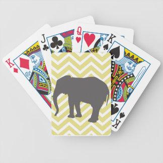 Elefante en el zigzag de Chevron - amarillo y blan Baraja De Cartas