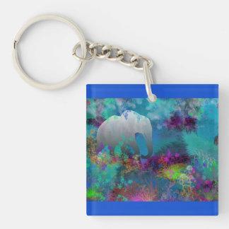 Elefante en Fantasyland futuro - tropical Llavero Cuadrado Acrílico A Una Cara