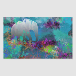 Elefante en Fantasyland futuro - tropical Rectangular Pegatina
