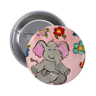 Elefante en la meditación pin redondo de 2 pulgadas