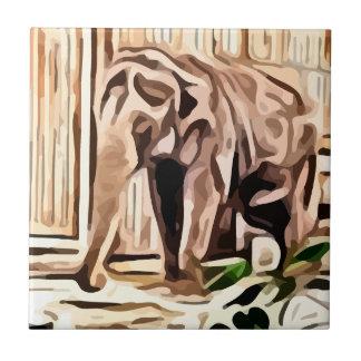 elefante. en la pintura del cautiverio azulejo cuadrado pequeño