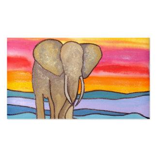 Elefante en la puesta del sol en África (K. Turnbu Plantillas De Tarjetas Personales