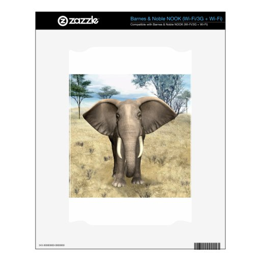 Elefante en la sabana calcomanías para el NOOK