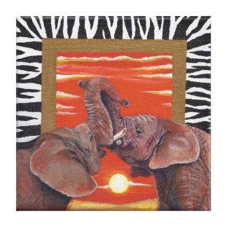 Elefante en puesta del sol y estampado de zebra impresion en lona