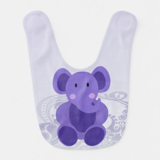 Elefante en púrpura - babero del bebé del bebé