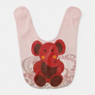 Elefante en rojo - babero del bebé del bebé