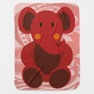 Elefante en rojo - manta del bebé del bebé manta de bebé