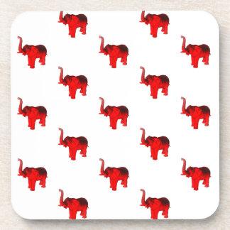 Elefante en rojo posavasos