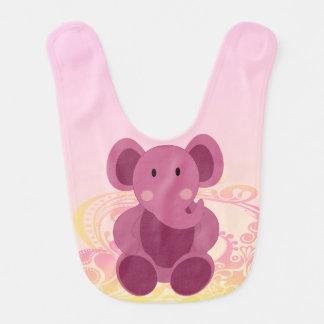 Elefante en rosa - babero del bebé del bebé