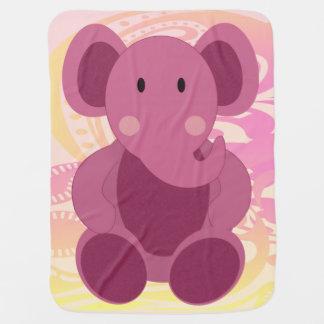 Elefante en rosa - manta del bebé del bebé mantitas para bebé