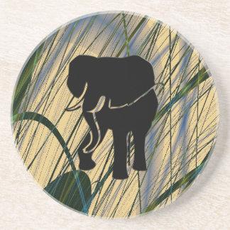 Elefante en selva abstracta posavasos para bebidas