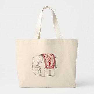 Elefante enrrollado bolsa de tela grande
