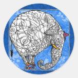 elefante etiqueta redonda