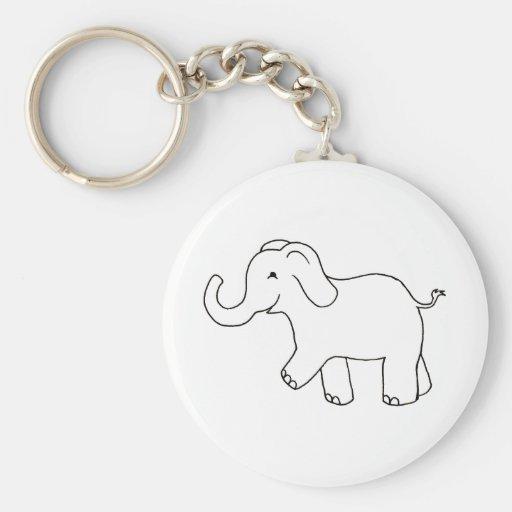 Elefante feliz - arte caprichoso lindo del dibujo  llavero personalizado