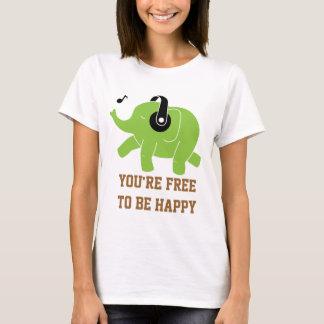 Elefante feliz del baile playera