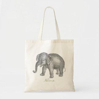 Elefante feliz del bebé del vintage bolsa tela barata