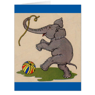 elefante feliz que juega con la cuerda y la bola tarjeta de felicitación grande