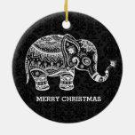 Elefante floral blanco en los damascos negros adorno navideño redondo de cerámica