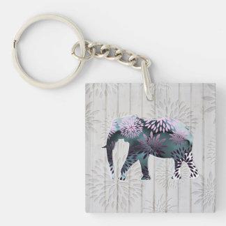 Elefante floral colorido caprichoso en el diseño d llavero cuadrado acrílico a doble cara