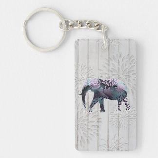 Elefante floral colorido caprichoso en el diseño d llavero rectangular acrílico a doble cara