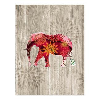 Elefante floral colorido caprichoso en el diseño d postal