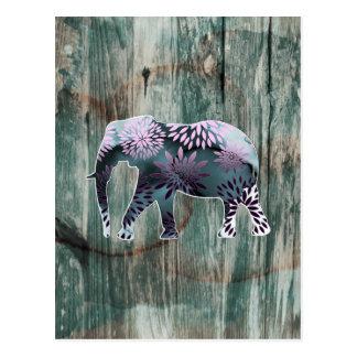 Elefante floral colorido caprichoso en el diseño d tarjeta postal