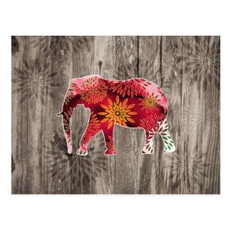 Elefante floral colorido caprichoso en el diseño d postales