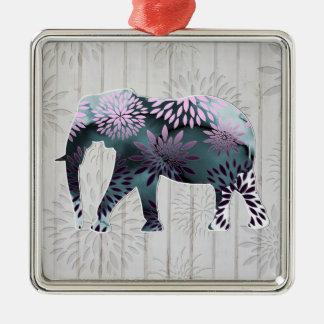 Elefante floral colorido caprichoso en el diseño adorno cuadrado plateado