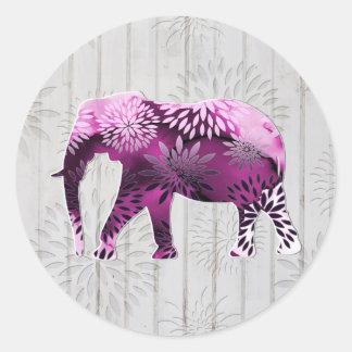 Elefante floral colorido caprichoso en el diseño pegatina redonda